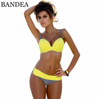 BANDEA Push Up Bikini Brand Swimwear Women 2017 Patchwork Bikini Sexy Stripe Swimsuit Brazilian Bottom Bikinis