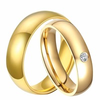 1 Pair His And Hers Promised Marriage Rings Set 18K Gold Plated Titanium Steel Classic Couple