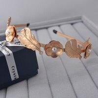 Baroque Vintage Style Gold Metal Flower Leaf Hair Bands Retro Bridal Tiaras Wedding Jewelry Women Royal