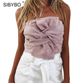Suede Crop Tops Women Off Shoulder Sleeveless Bow Tie Summer Bralette Cropped Top Sexy Stretchy Short Bustier Bandeau Tank Top