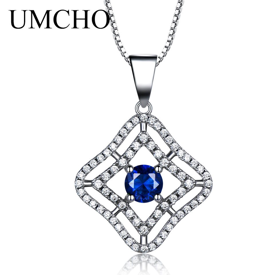Luxury Blue Sapphire Pendants Necklaces For Women Real 925 Sterling Silver Vintage Pendant Link Chain Fine Jewelry Gift