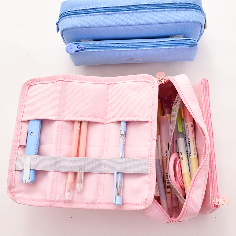 1 Pc Detachable Nylon Pencil Bag Including A Small Rolling Bag Multifunction Pencil Case For Students Deli 66846