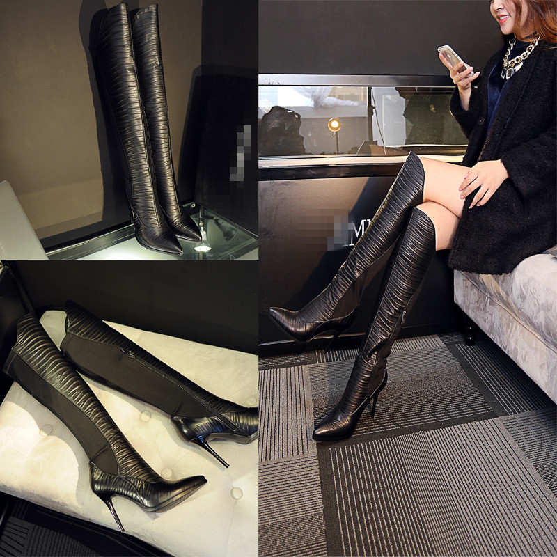 2014 new over-the-knee pointed knights of color matching leather boots with female star fashion boots with high heels knights of sidonia volume 6