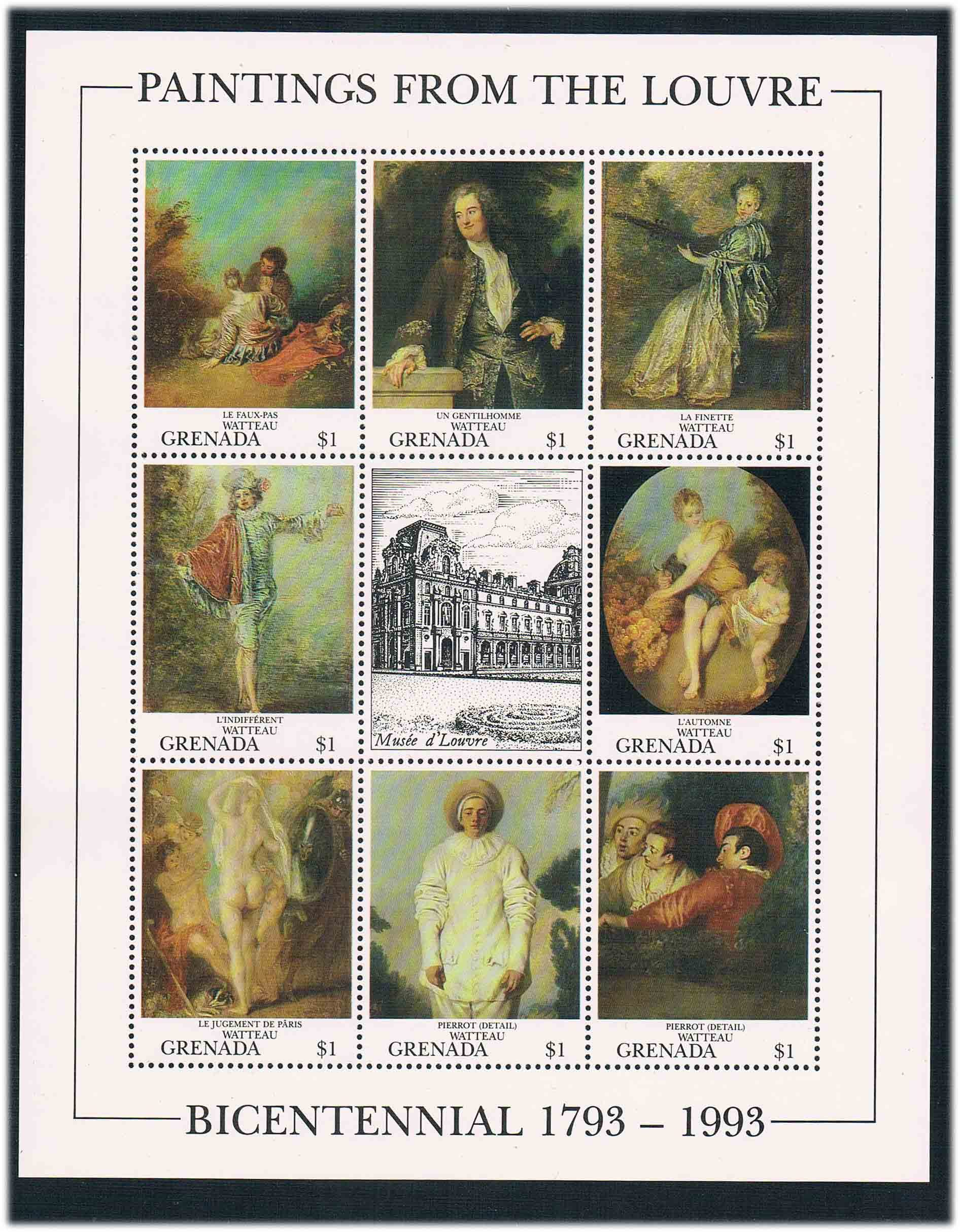 1993 Grenada DA0636 Le Louvre Museum 1MS 0731 new painting Impressionist paintings of Watteau movado museum classic 0606503