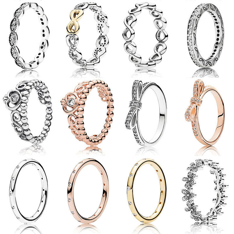 12 Silver Rings With Rose...
