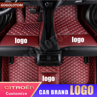 Custom Car Floor Mats Luxury Leather Citroen C5 C4 Air Cross Aircross Picasso Grand C2 C4L DS5 LS DS6 Auto Car Styling Carpet