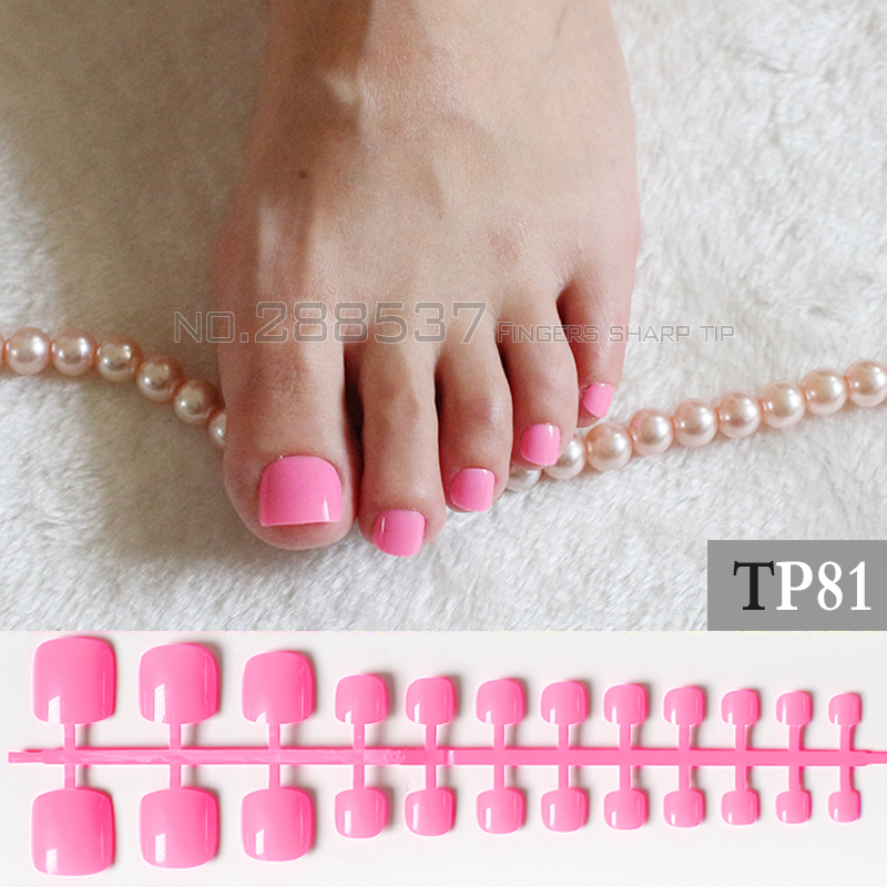Candy DIY Fashion Colors Toe Nails 24pcs Acrylic False Toes Art Tips ...