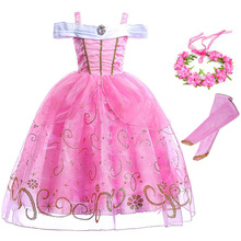 Girls Sleeping Beauty Aurora Dress up Princess Costume Seuined Floral Sleeveless Ball Gown Kids Halloween Party Cosplay Clothes brand girl dress sleeping beauty aurora princess for kids girls party dress halloween girls cosplay costume children clothing