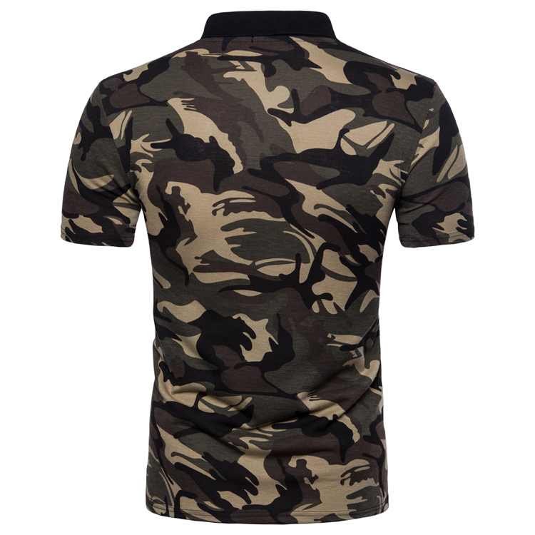 Men's Top Regular Gradient Print Breathable Cotton Short Sleeve 2018 Spring And Summer New Casual Camouflage Polo Shirt 37