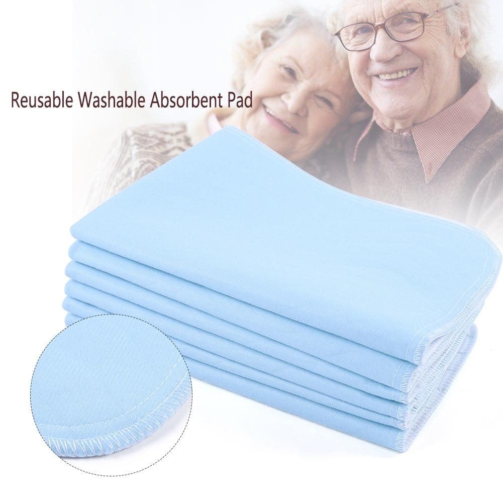 6 шт Многоразовые моющиеся подушечки мочи коврик дышащий супер абсорбент Подушечка Для взрослых при недержании Подушечка для кормления синий+ белый 45*60