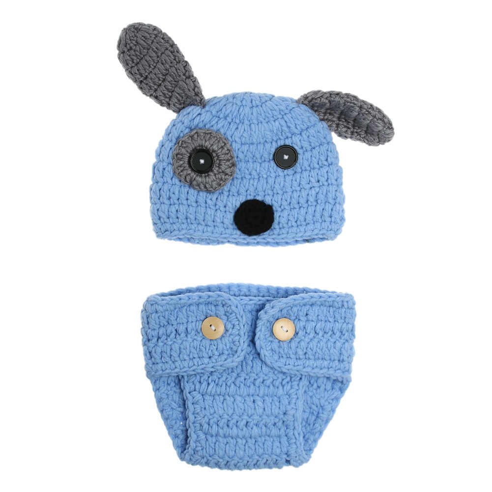 ab082532d Cartoon Designs Newborn Baby Photography Props Crochet Dog Shape Hat+Briefs  Set Costume Baby Accessories Baby Clothes