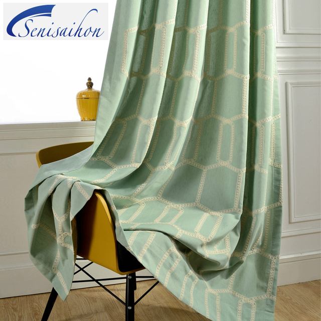 Senisaihon Past Cotton Linen Blackout Curtains Light Blue Green Plaid Embroidered Customize Tulle Curtain For Living Room