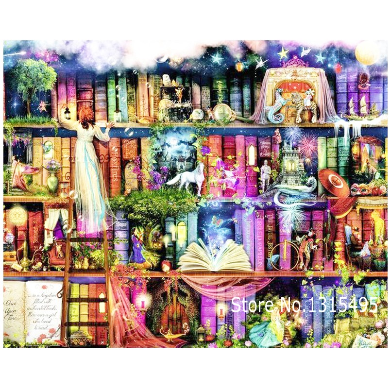 Diamond Art Counting Cross Embroidery Painting Bookshelf The Picture Pastes Mosaic Needlework Stickers A087