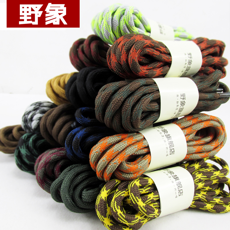 Wild elephant shoelaces for outdoor sport hiking shoes /sports shoes laces/   round slip-resistant wear-resistant shoelaces jup 50 pairs sneaker shoelaces skate boot laces outdoor sport casual multicolor bumps round shoelace hiking slip rope shoe laces