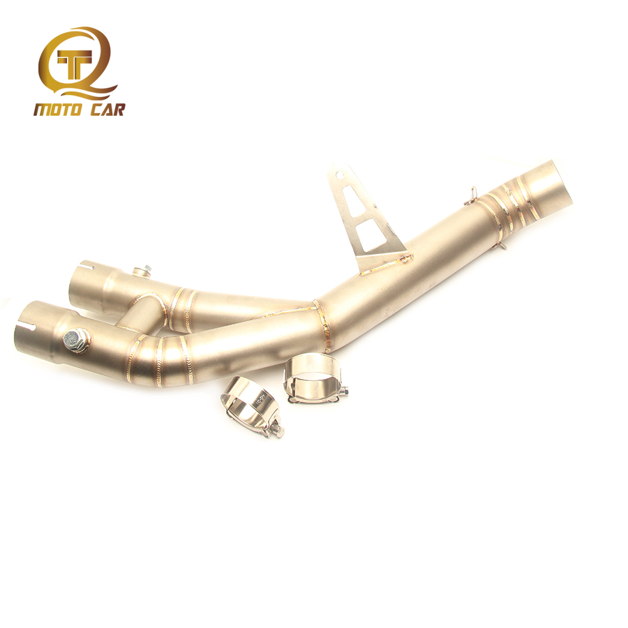 Motorcycle Exhaust System Connect Mid Tube Steel Link Pipe Escape Muffler Clamp Link Pipe for Yamaha YZF R1 YZFR1 2015 2016 2017