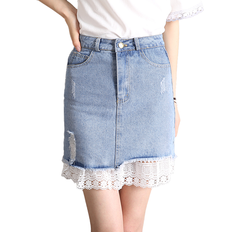 72aeb6ae2bcae 2018 Summer patchwork Lace Denim Skirt Ripped Sexy Mini Jeans Skirts Womens  High Waist Pockets light blue jupe femme Saias -in Skirts from Women s  Clothing ...