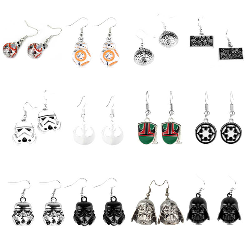 Movie Jewelry Star Wars Earring Robot BB-8 Stormtrooper Millennium Falcon Spacecraft Drop Earrings Metal Alloy Jewelry For Women