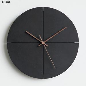 Скандинавские минималистичные настенные часы, черные часы для гостиной, индивидуальные бытовые бесшумные настенные часы, домашний декор