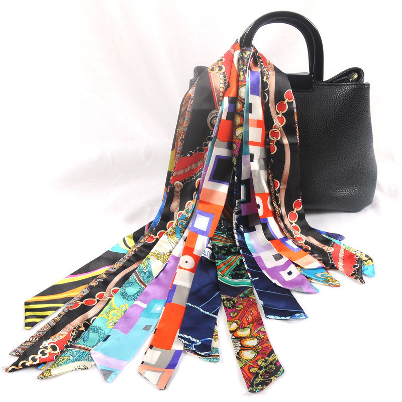 Hair Tie Band For Business Party Women Elegant Skinny Head Neck Silk Satin Small Bag Decoration Rectangle Ribbon Scarf