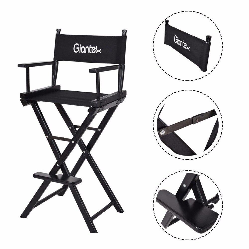Giantex Folding Wooden Makeup Director Artist Chair Beech Wood Portable Professional New HW58747
