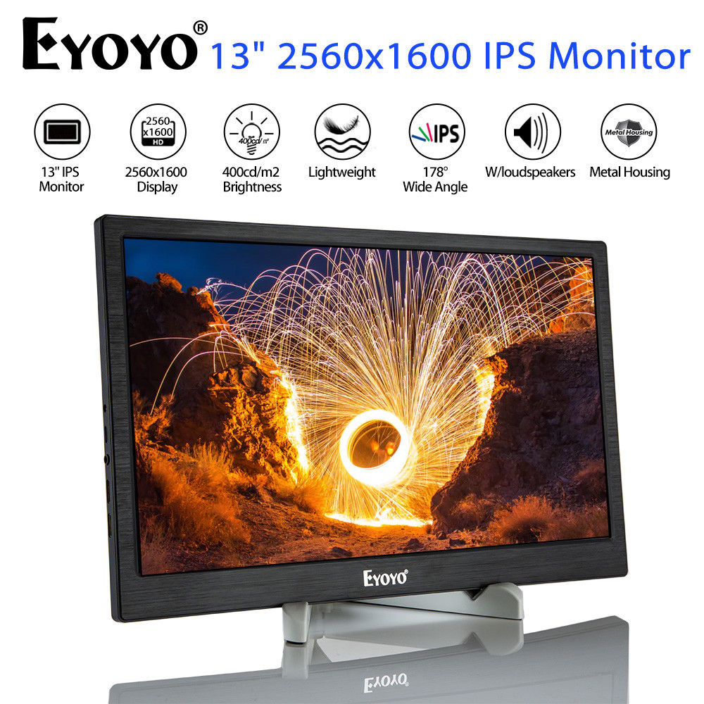 Eyoyo 13Inch High Resolution IPS Gaming Monitor 2560*1600 With Dual HD Input Built-in Speakers For PC Laptop DVD PS3 PS4 Xbox