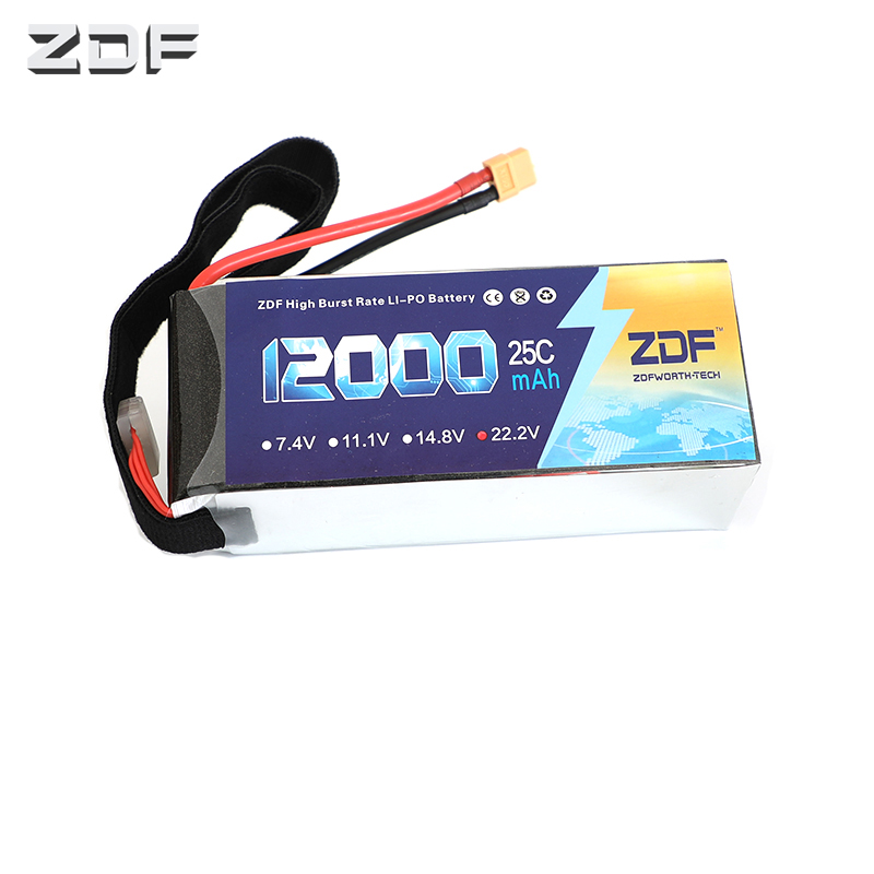 ZDF High Quality Lipo Battery 22.2V 6S 12000MAH 25C-50C RC AKKU Bateria for Airplane Helicopter Boat FPV Drone UAV