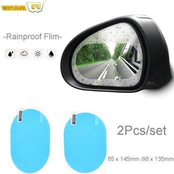 2 sztuk/zestaw Anti Fog mgła wodna lusterko samochodowe okno przezroczysta folia lusterko wsteczne folia ochronna wodoodporna naklejka przeciwdeszczowy samochód