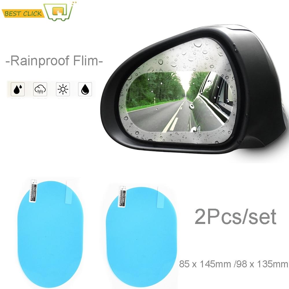 2 adet/takım Anti sis su sis araba ayna cam şeffaf Film dikiz aynası koruyucu Film su geçirmez yağmur geçirmez araba Sticker