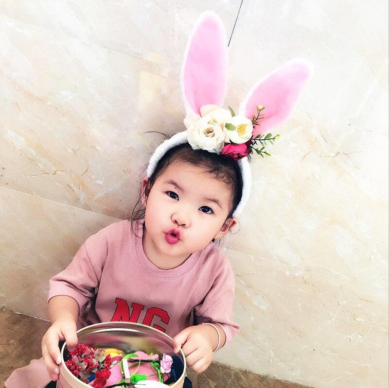 Fashion New Cute Furry Rabbit Ears Baby Girls Headband Accessories For Children hair Head Bands Wrap Headdress Easter headwear