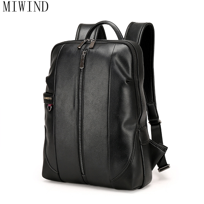 MIWIND Famous Brand Preppy Style Leather School Backpack Bag For College Fashion School Bags Unisex Casual Backpacks TCN893 korea style fashion backpacks for men and women waterproof preppy style soft backpack unisex school bags big capacity bag xa893b