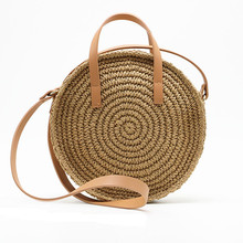 New Vintage Straw Bag Round Rattan Bags Handmade Summer Bags Woven Beach Ladies Circle Shoulder Bag Bohemia Girls Travel Handbag