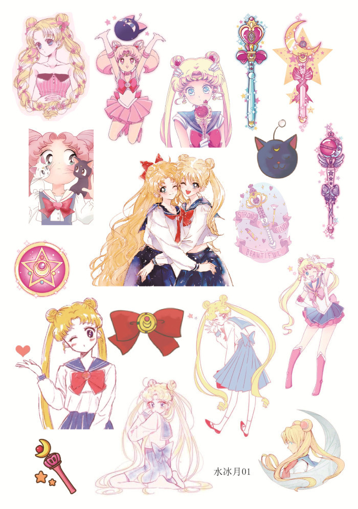 Uncut A5 Sailor Moon Girl Decorative Sticker Set Diary Album Label Sticker DIY Scrapbooking Stationery Stickers Escolar