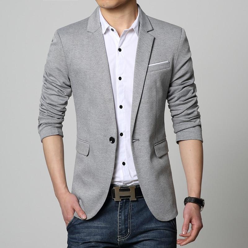 Novi Slim Fit Casual jakna pamuk Muška jakna jakna jedan gumb Siva - Muška odjeća - Foto 4