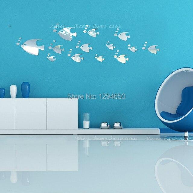 livraison gratuite 3d miroir stickers muraux mur poissons de miroir mont pour salle de bains ou. Black Bedroom Furniture Sets. Home Design Ideas
