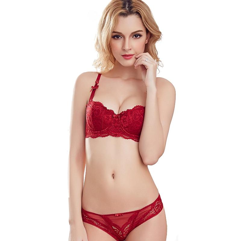 13794055195 Sexy Mousse Thin Transparent Bra Set Embroidery Half Cup Women Underwear  deep V-neck solube Vintage Bra panties set Black Red