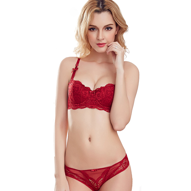 1c488a010 Sexy Mousse Thin Transparent Bra Set Embroidery Half Cup Women Underwear  deep V-neck solube Vintage Bra panties set Black Red