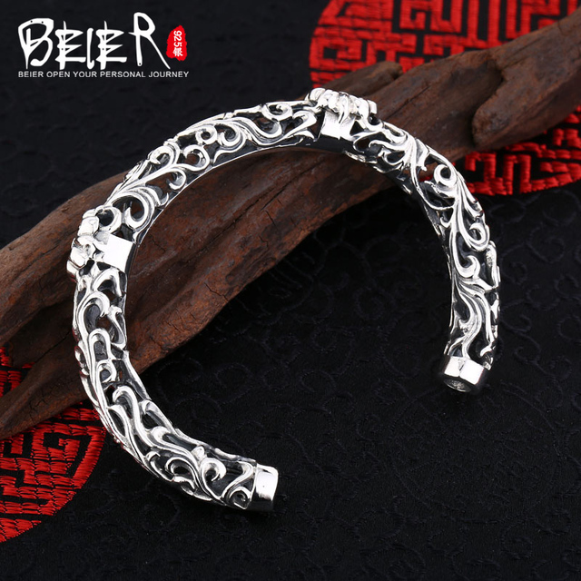 Beier 925 Sterling Silver Bracelet  anchor Exquisite workmanship flower type hollow design man and women bracelet  BR925SZ019
