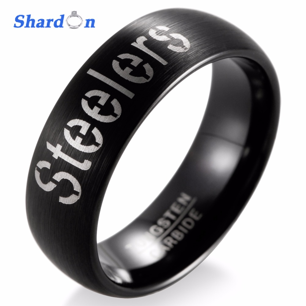 SHARDON Wedding band Engagement jewelry Tungsten matte Rings for Men NFL Football Pittsburgh Steelers Alternate Logo Ring цена