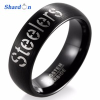 SHARDON Wedding Band Engagement Jewelry Tungsten Matte Rings For Men NFL Football Pittsburgh Steelers Alternate Logo