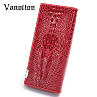 2016 3D Crocodile Grain Women Long Wallets Genuine Leather Embossed Design Draw Out Type Female Wallet