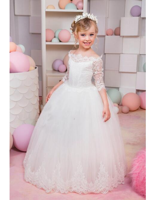 Girls Wedding Formal Dresses 2018 Off Shoulder Lace Gauze Prom Ball Gown Flowers Girls Princess Dress Kids Long Party Dress сумка wei emperor paul 518 11 2015