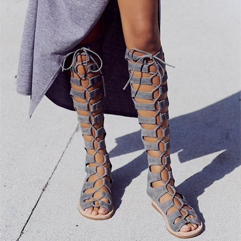 Gladiator Sandals Summer Knee High Boots Women Sexy Peep Toe Lace-up Boots Openwork Stretch Flats Shoes Cross Straps Boots купить