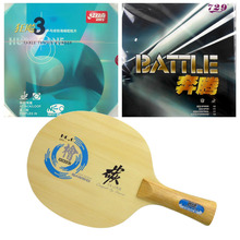 Pro Table Tennis Combo Paddle Racket Sanwei HC.6 with DHS NEO Hurricane 3 and RITC 729 BATTLE shakehand Long Handle FL