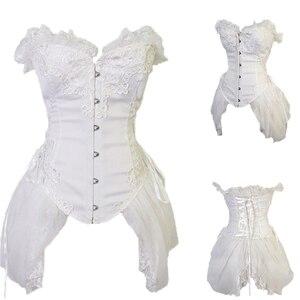 Image 2 - FLORATA Wit Bovenborst Taille Trainer Korsetten Jurk Steampunk Gothic Kleding Burlesque Kostuums Voor Vrouwen 50% korting Uitverkoop
