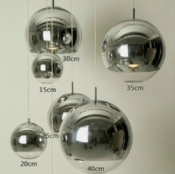 Современная мода покрытием Chrome Стеклянный шар подвесной светильник Tom Дома Деко Гостиная DIY Серебряный Кулон лампы E27 лампа