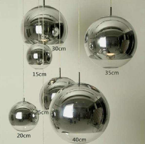 Modern fashion Plated chrome glass ball Pendant Light fixture TOM home deco living room DIY silver pendant lamp E27 bulb