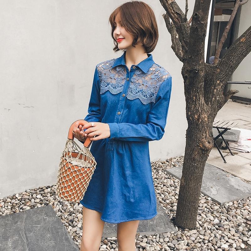 XL - 5XL women autumn plus size lace hollow out denim dress fashion cowboy long sleeve mini A line dress k337