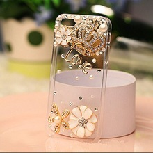 For IPhone4s 5s 5c 6 6Plus 7 7plus Case,3d Handmade Clear Bling Gold Crown Crystal Rhinestone Diamond Skin Case Cover