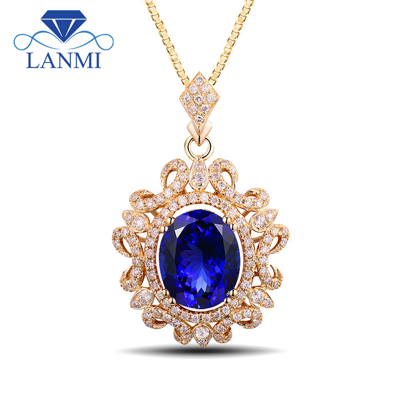 New!!! Oval 8x10mm Genuine Tanzanite Pendant With Natural Diamond In 14Kt Yellow Gold Fantastic Wedding Jewelry WP048