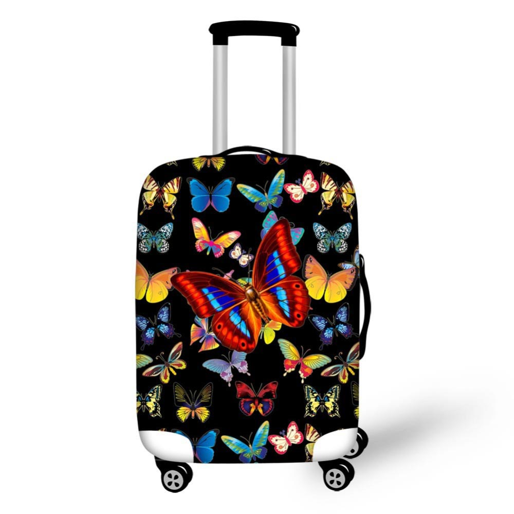 Black Pretty Butterfly Luggage Cover For 18/20/22/24/26/28 Inch Trunk Waterproof Travel Suitcase Cover Elasic Fabric